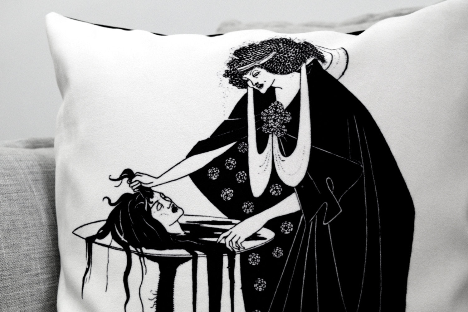 "aubrey beardsley illustration - 18"" velveteen pillow case - the dancers reward - for Salomé: a tragedy in one act // book by oscar wilde"