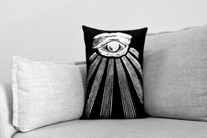 "all seeing eye // masonic eye // omnipresent deity - set of 2 - 14"" x 20"" velveteen pillow cases - occult illustration"