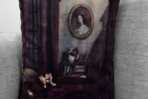 "edgar allan poe // the raven illustration  14"" x 20"" velveteen pillow case - edmund dulac, 1912"