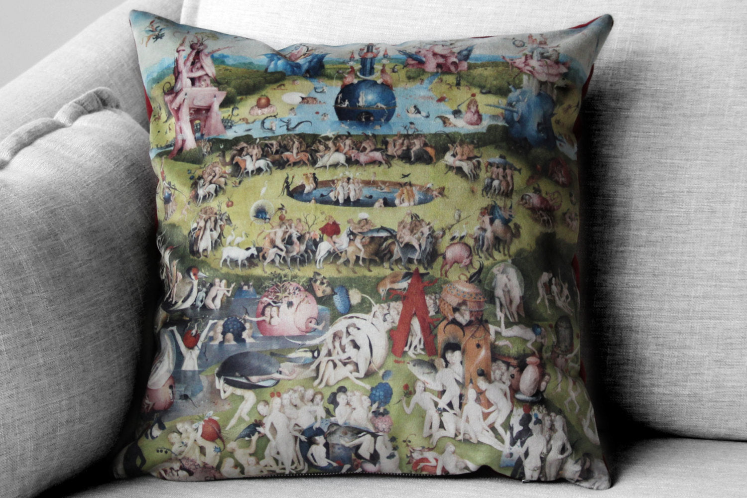 "the garden of earthly delights - 18"" velveteen pillow case - Hieronymus Bosch, 1480 - 1505"