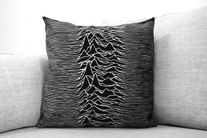 "unknown pleasures - 18"" velveteen pillow case - joy division"