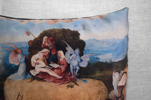 "the haywain - 18"" velveteen pillow case - Hieronymus Bosch, 1516"