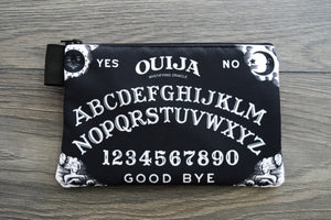 ouija board - lined twill pencil case - double sided print - black and white edition