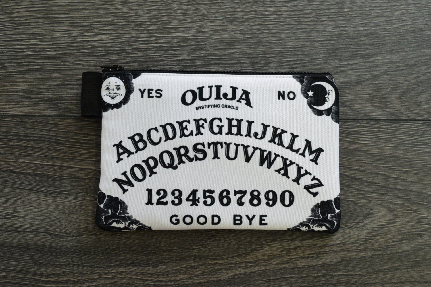 ouija board print - set of 2 lined twill pencil cases - double sided print - black and white edition