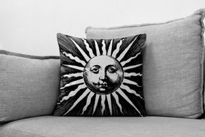 "vintage sun with face illustration - 18"" velveteen pillow case - circa. 1622"