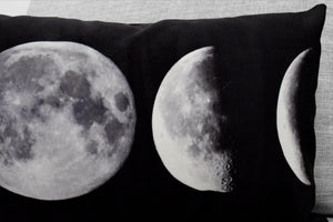 "lunar phase & moon pillows set of one 12"" x 24"" velveteen lumbar pillow case and one 18"" velveteen pillow case"