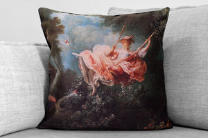 "the swing, also known as the happy accidents of the swing- 18"" velveteen pillow - jean-honoré fragonard, 1767"