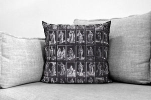 "the tarot of mantegna - 18"" velveteen pillow case - copper engraved emblematical images  c.1465"