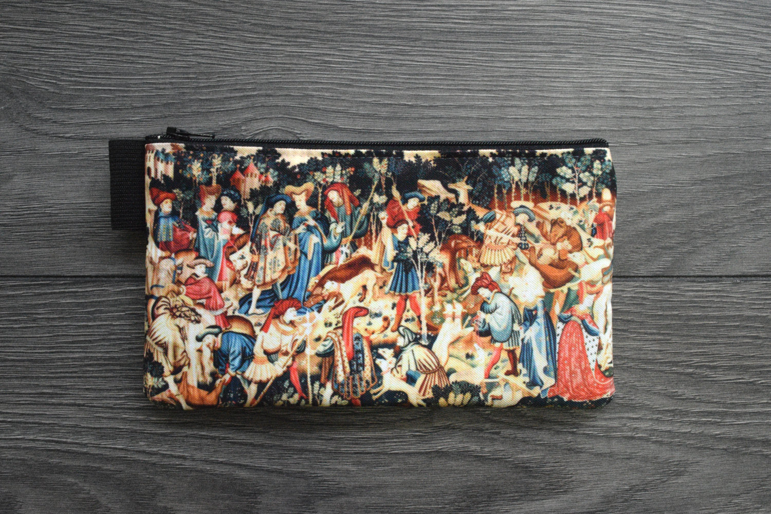 the devonshire hunting tapestries - lined twill pencil case - boar and bear hunt, 1425 - 1430