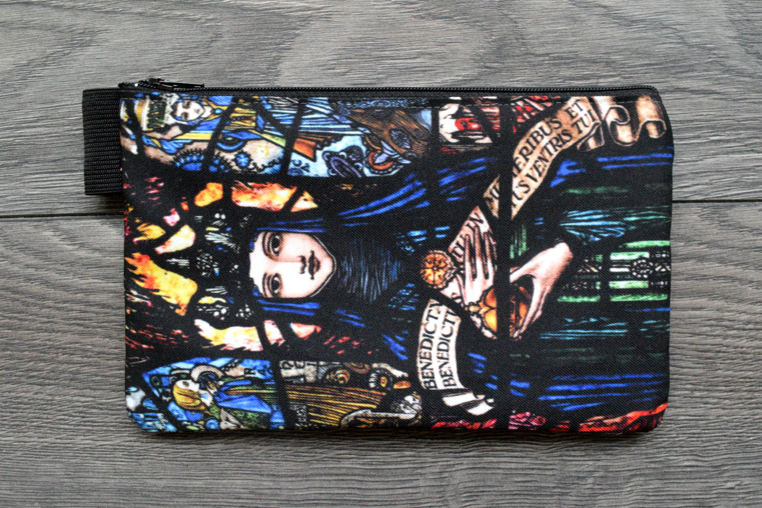 holy mary - lined twill pencil case - double sided print -  harry clarke stained glass panel