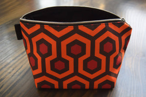 the shining - set of 2 - lined canvas zippered pouch - overlook hotel - carpet pattern // room 237