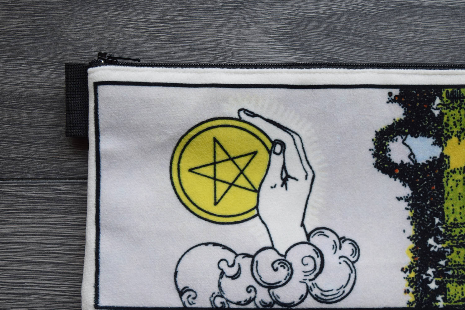 ace of pentacles - lined velveteen pencil case - minor arcana tarot card series