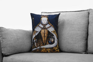"queen elizabeth I - 14"" x 20"" velveteen pillow case - the coronation portrait, 1600s"