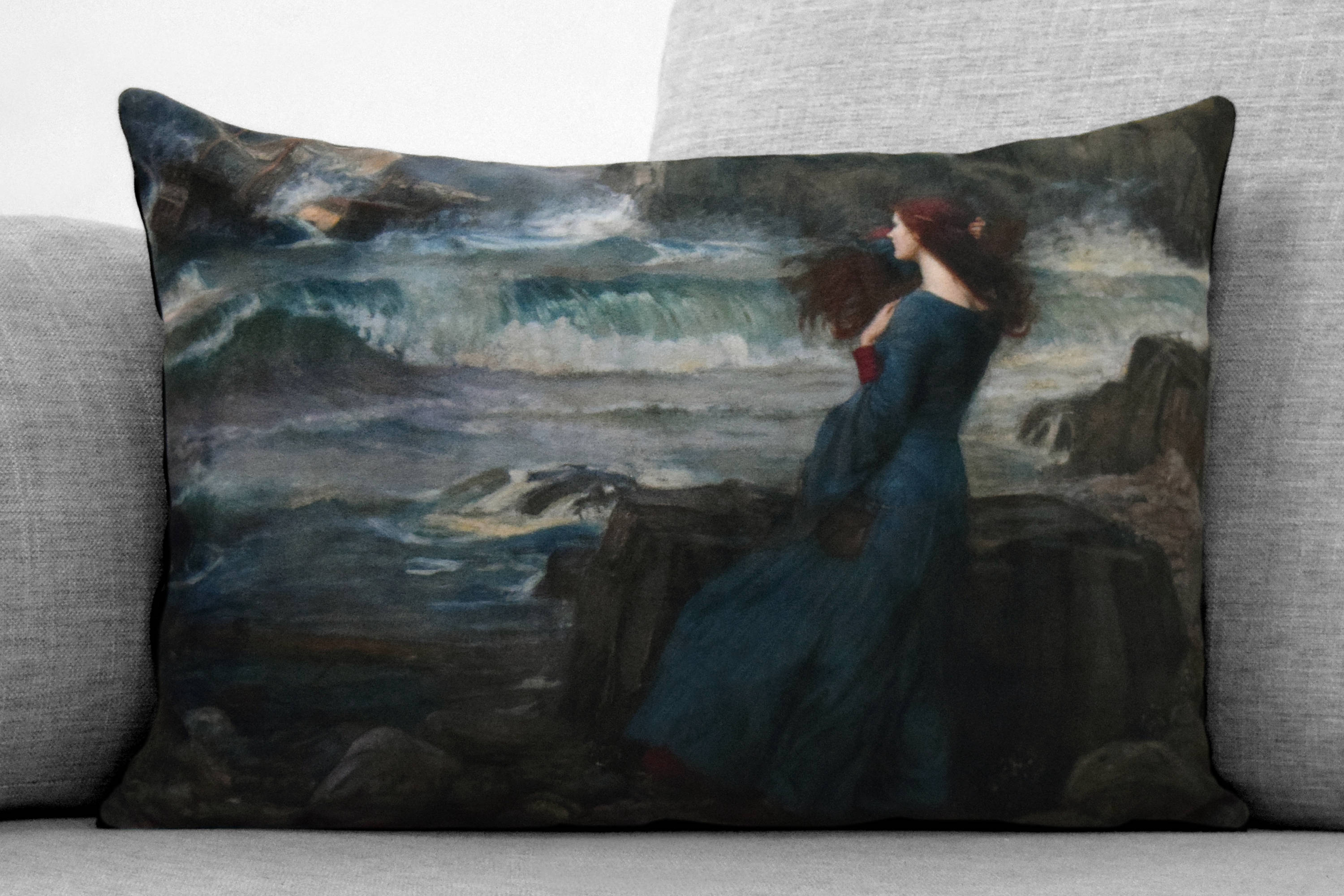 "the tempest - miranda - 14"" x 20"" velveteen pillow case - john william waterhouse, 1916"
