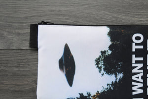 i want to believe - lined twill pencil case - UFO // alien spacecraft sighting