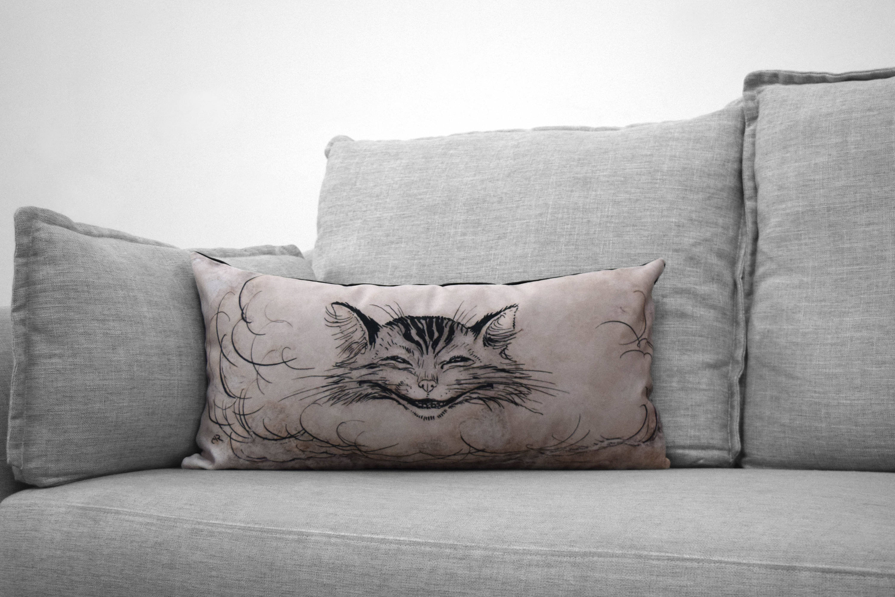 "cheshire cat // alice in wonderland - set of one 12"" x 24"" lumbar pillow case & one 14""  x 20"" velveteen pillow case- arthur rackham, 1907"