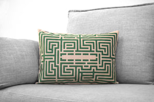 "the shining - 14"" x 20"" velveteen pillow case - overlook hotel // the maze - green version"