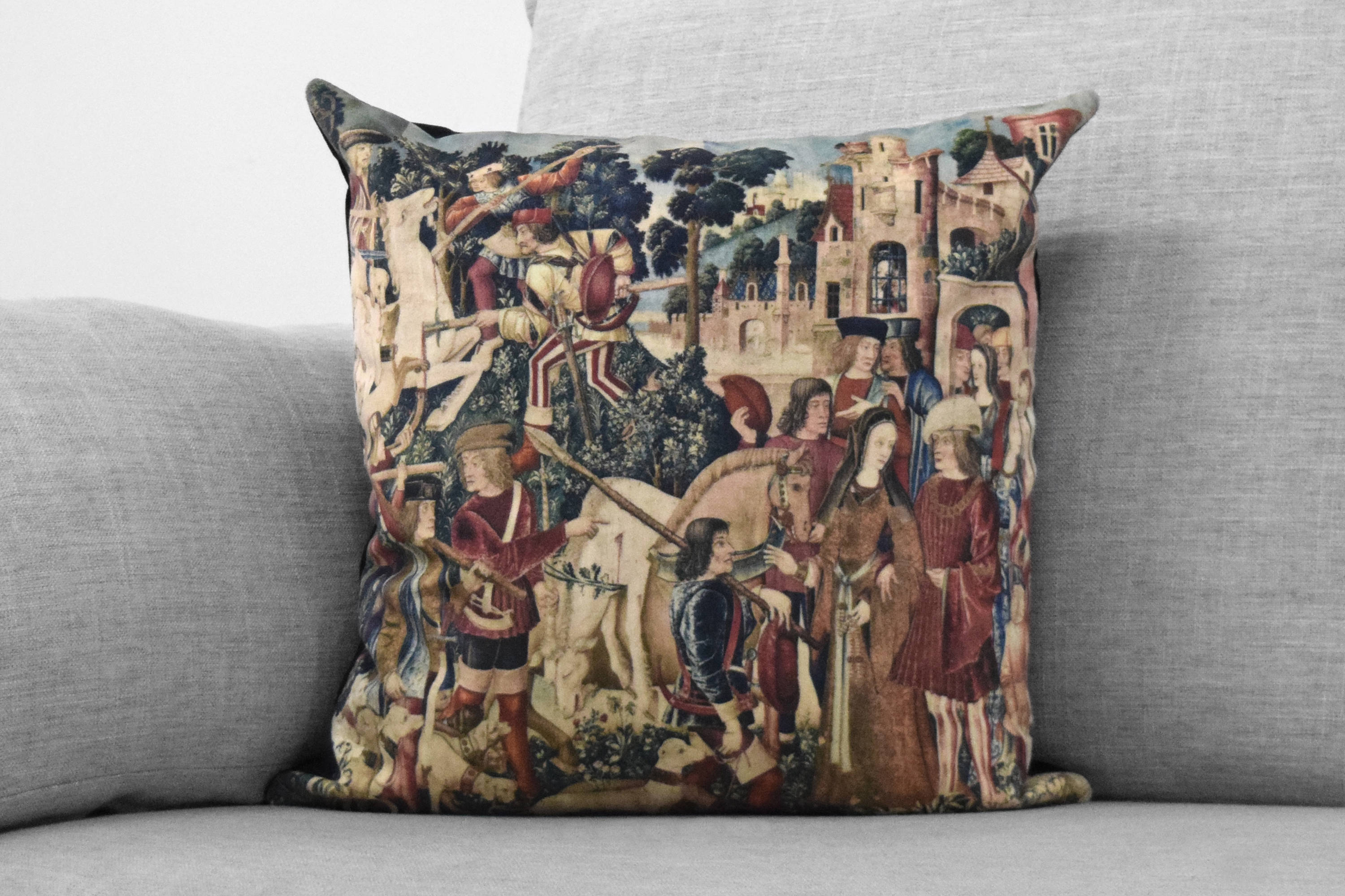 "the unicorn is killed and brought to the castle - 18"" velveteen pillow - unicorn tapestries, 1495 - 1505"