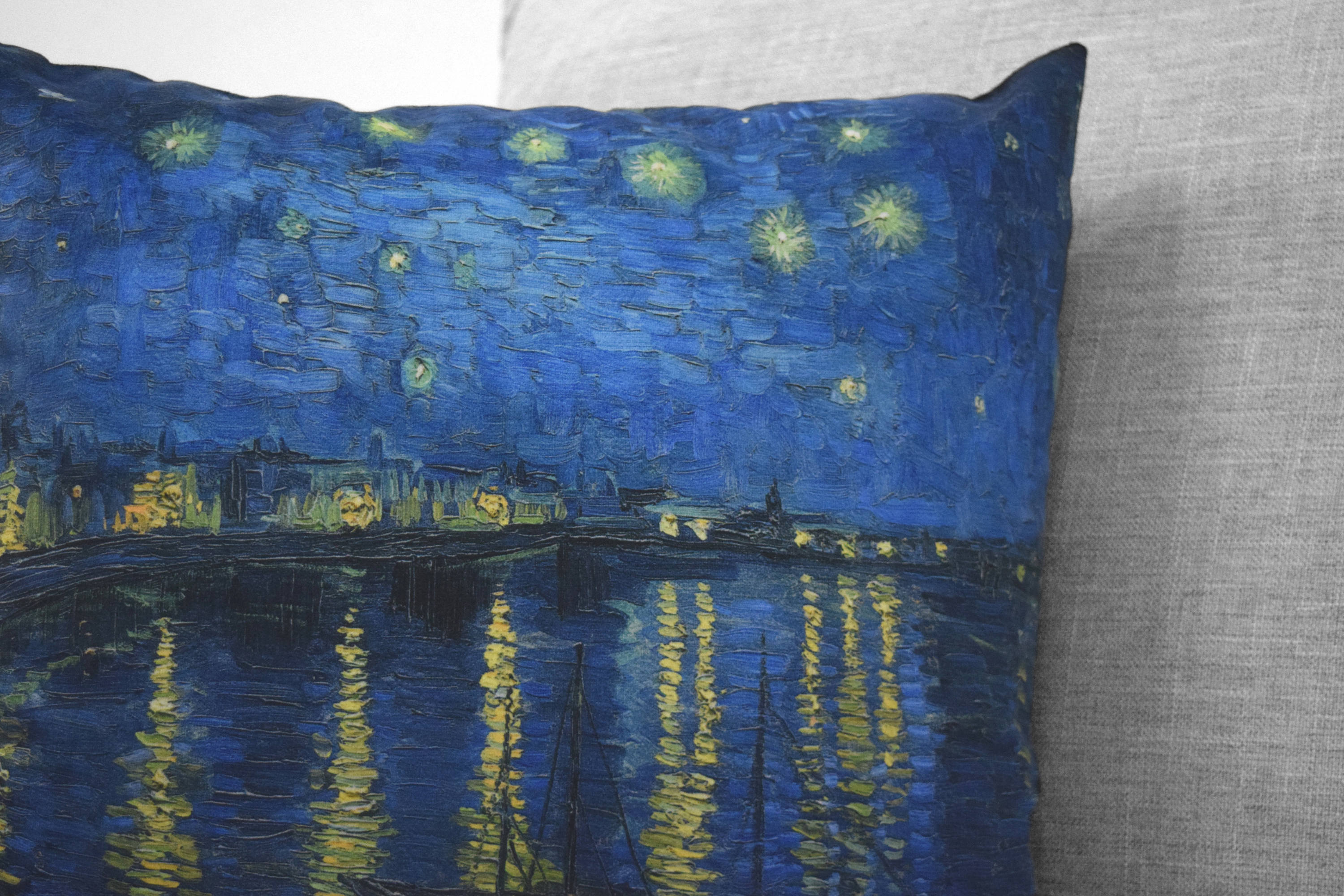 "vincent van gogh painting - 18"" velveteen pillow case - starry night over the rhône, 1888,"