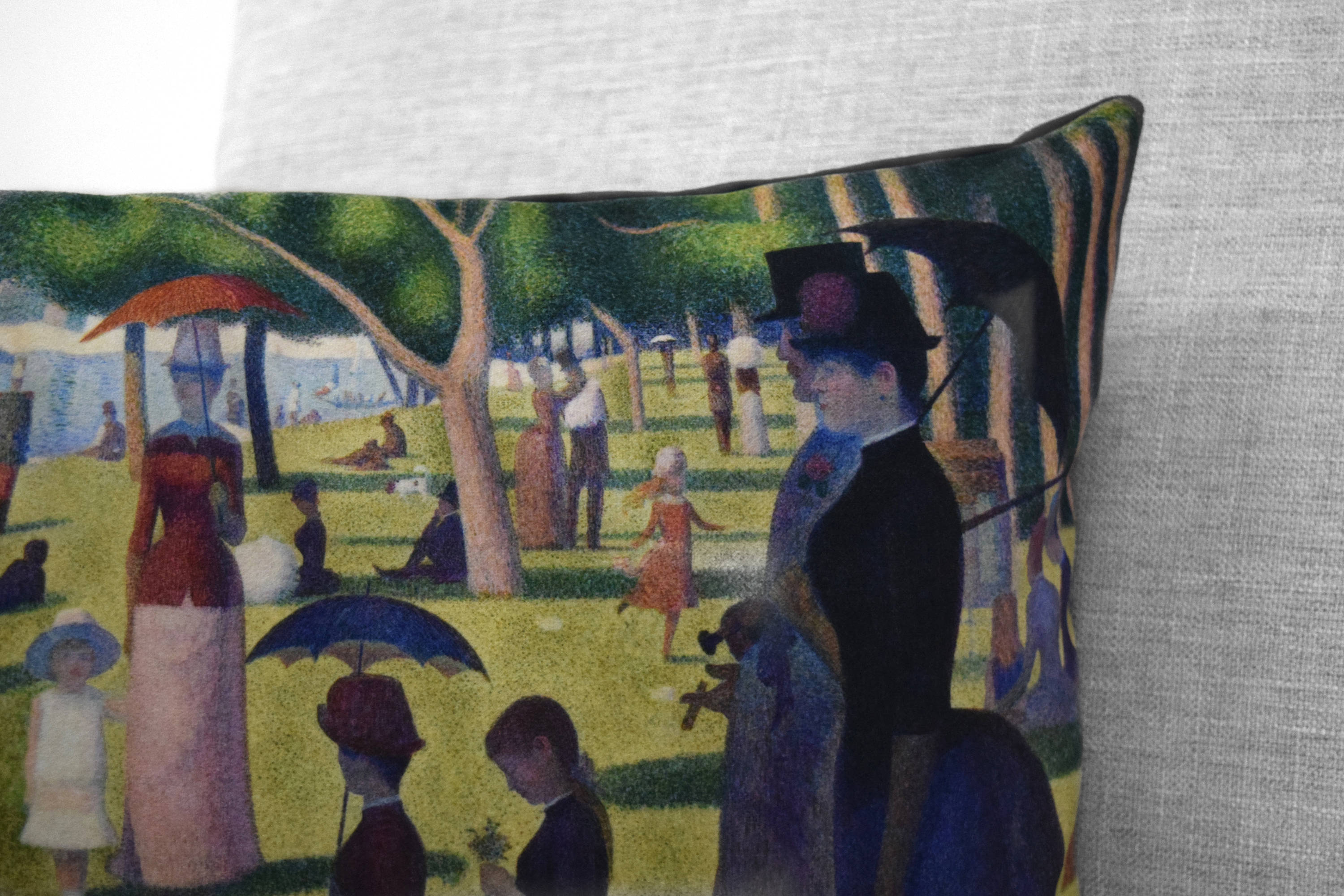 "a sunday afternoon on the island of la grande jatte - 14"" x 20"" velveteen pillow case - georges seurat, 1886"