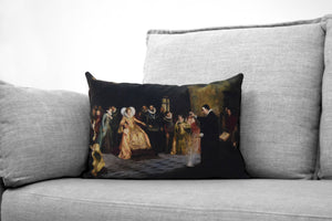 "john dee - elizabethan court philosopher, mathematician and alchemist - 14"" x 20"" velveteen pillow case - henry gillard glindoni, 1527-1609"