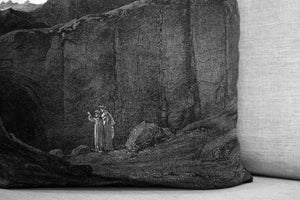 "the gate of hell - the divine comedy illustration // dante's inferno - plate VIII - 18"" velveteen pillow case - Gustave Doré, 1892"
