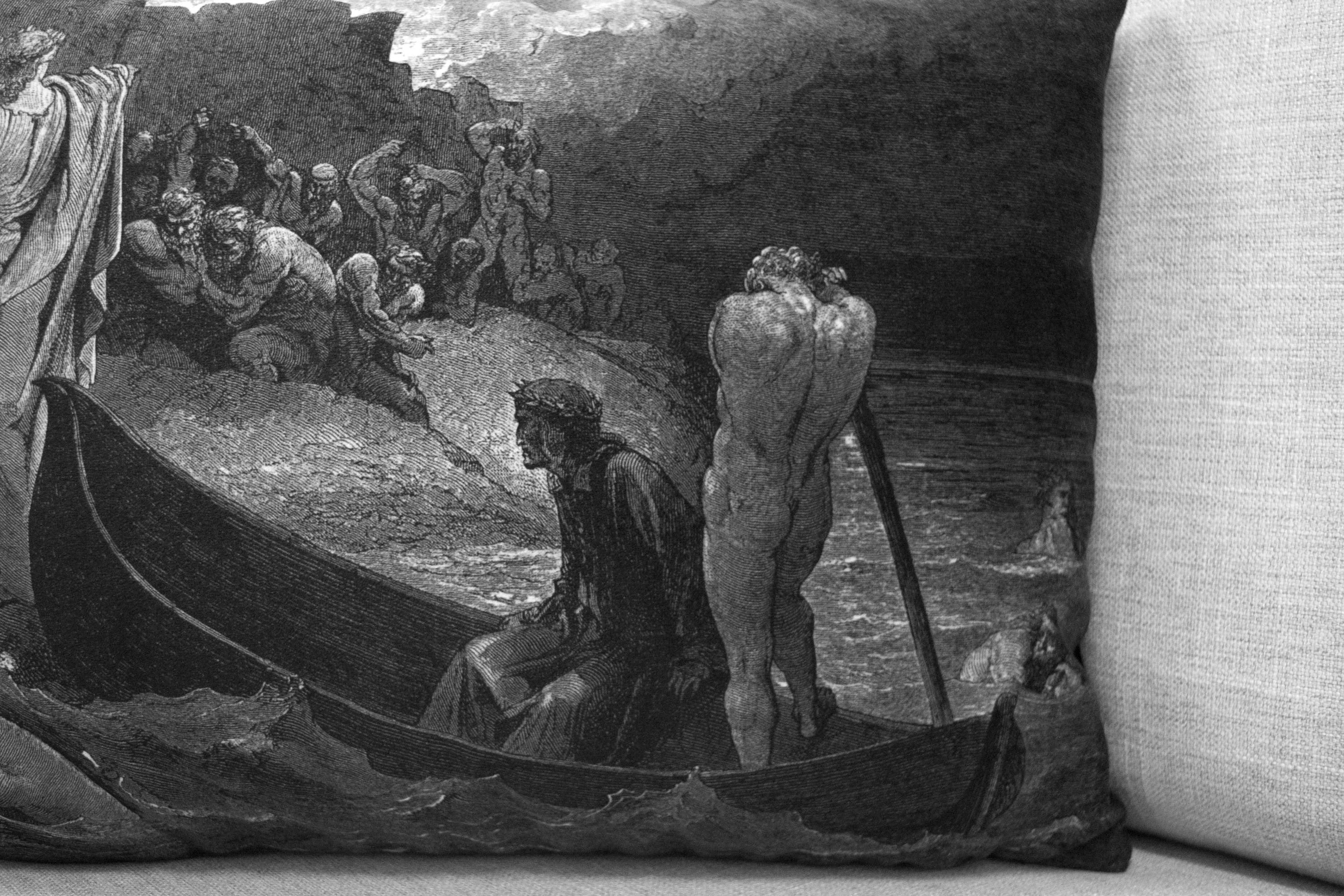 "virgil confronting the devils - the divine comedy illustration // dante's inferno - 14"" x 20"" velveteen pillow case - Gustave Doré, 1892"