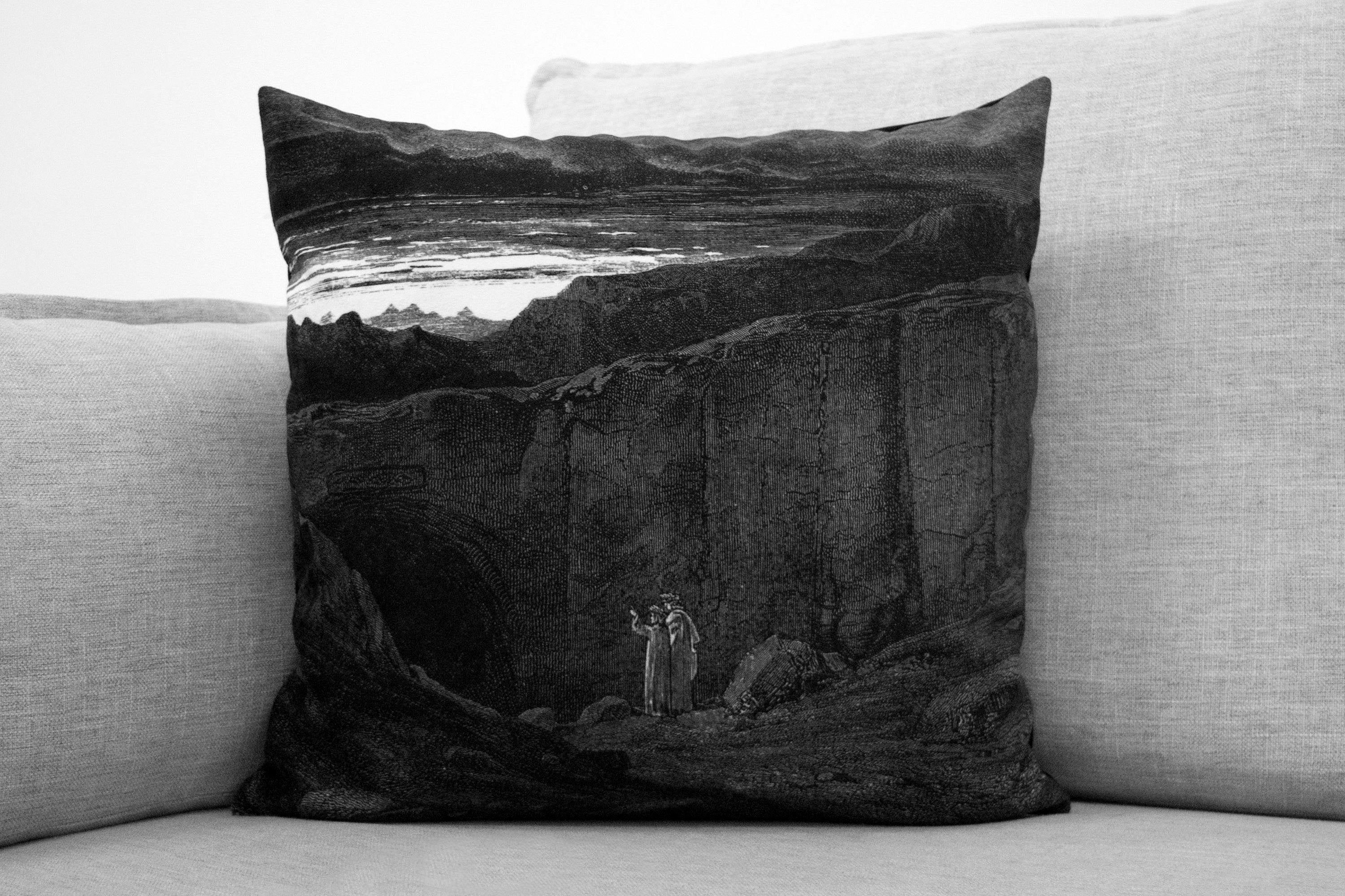 "the divine comedy illustration//dante's inferno - set of two 14"" by 20"" & two 18"" velveteen pillow case - Gustave Doré, 1892"
