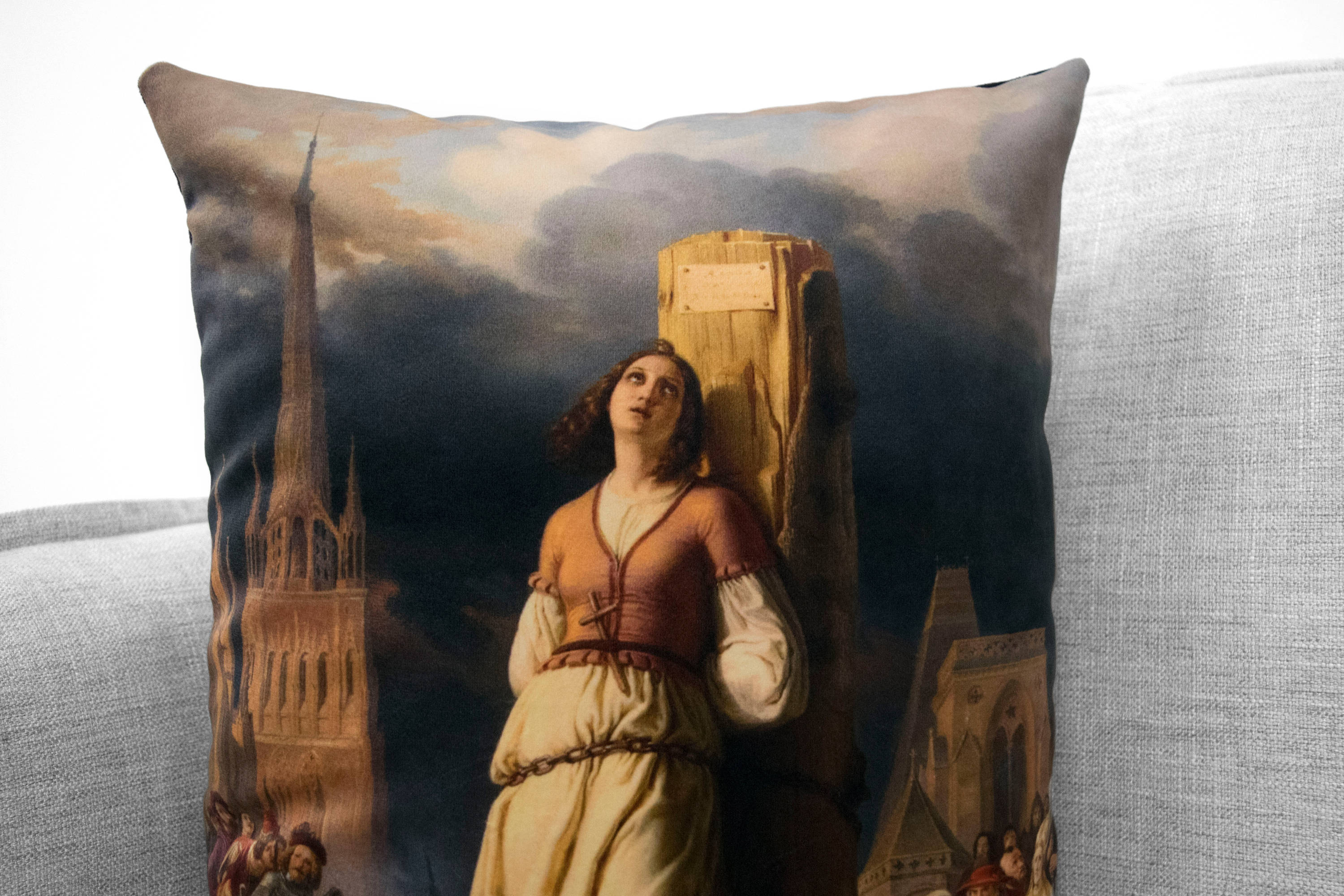 "joan of arc's death at the stake  - 14"" x 20"" velveteen pillow case - hermann anton stilke , 1803"