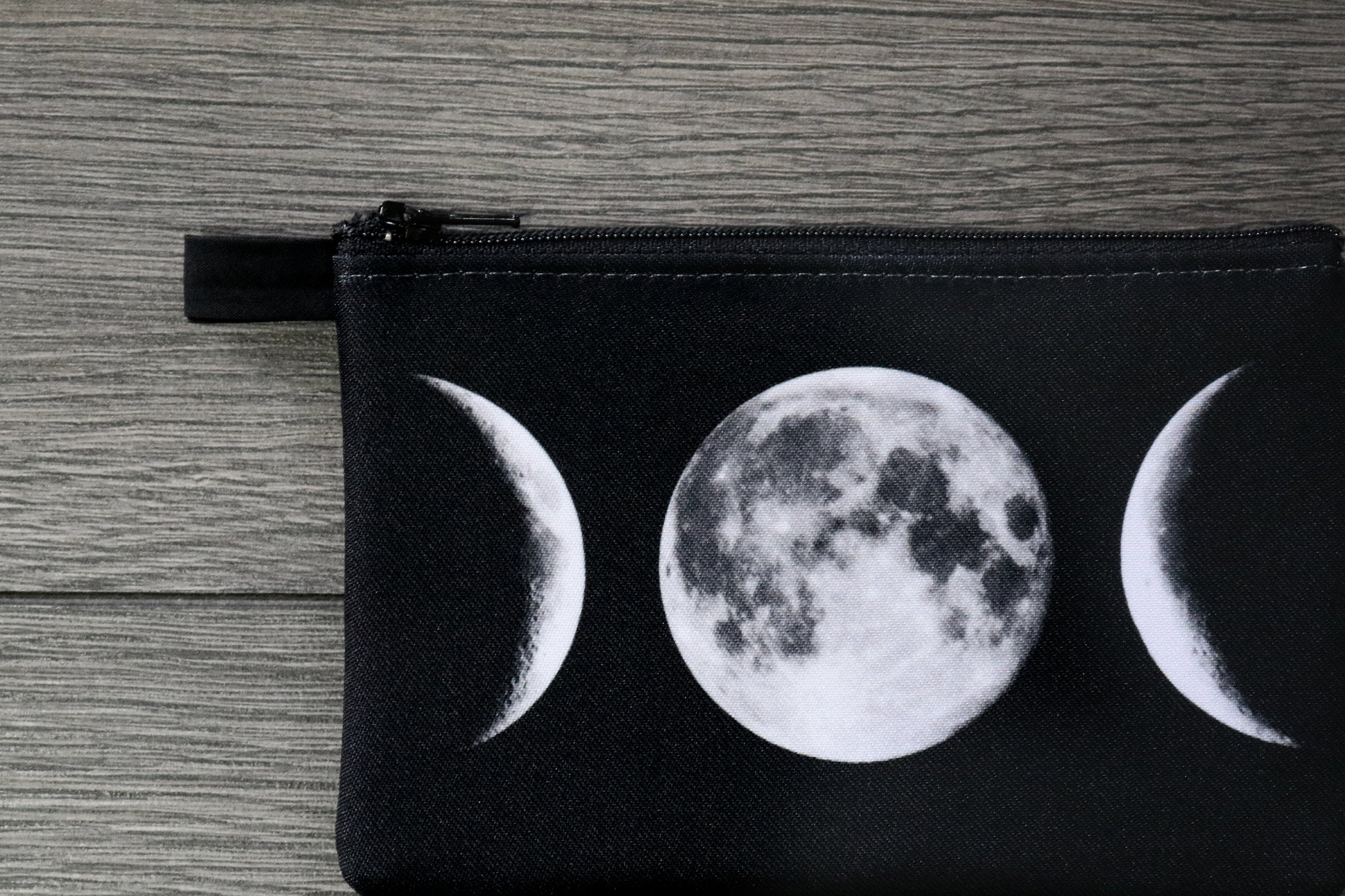 lunar phase - lined twill coin purse - double sided print