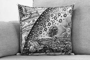 "quests for knowledge  -18"" velveteen pillow case  - flammarion engraving"