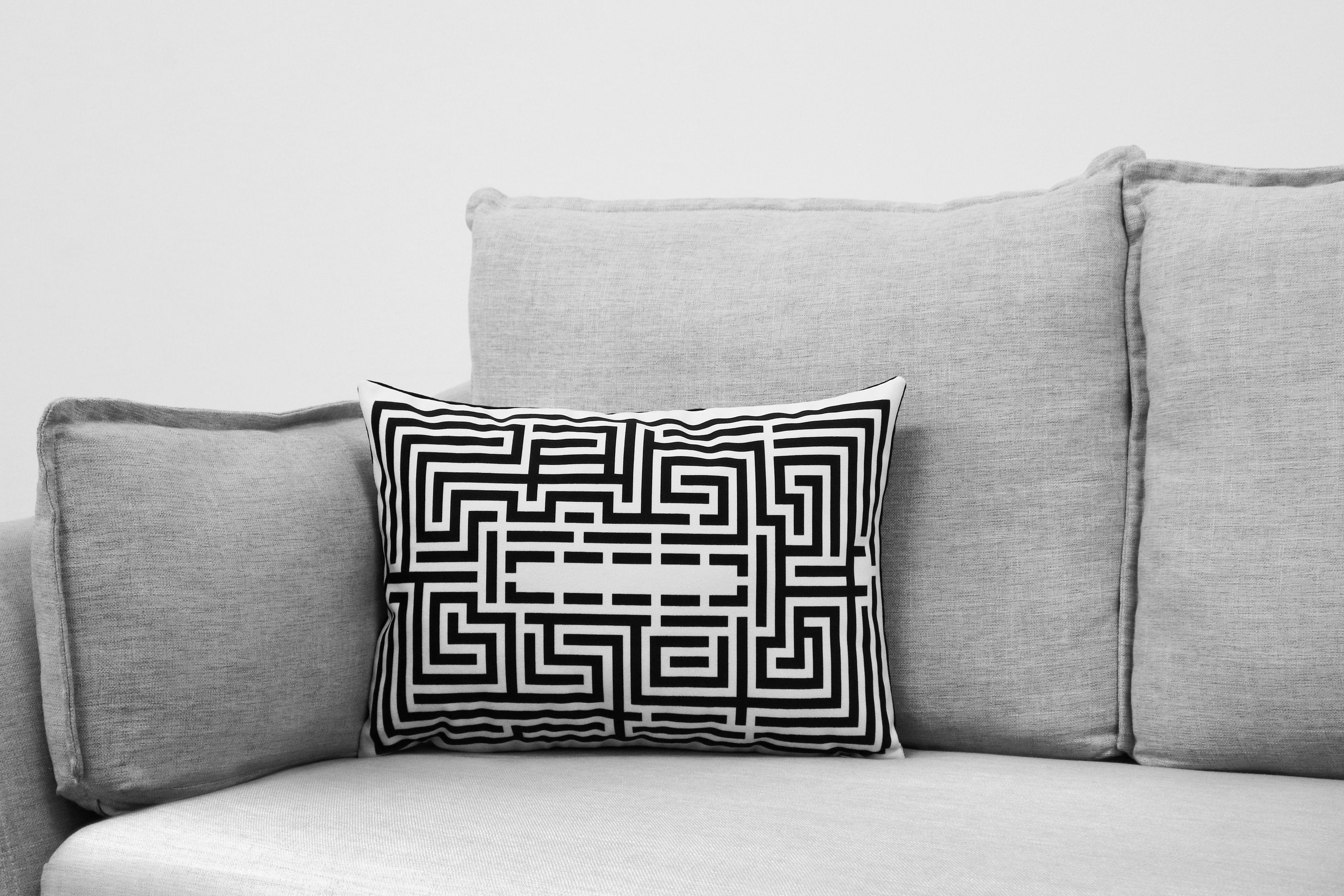 "the shining - 14"" x 20"" velveteen pillow case - overlook hotel // the maze - black & white addition"