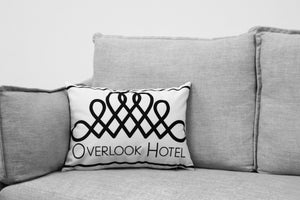 "the shining - 14"" x 20"" velveteen pillow case - overlook hotel decal - black & white addition"