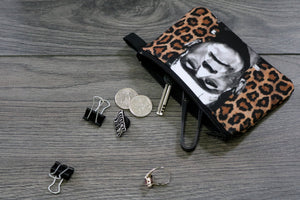 frankenstein's monster - lined twill coin purse - double sided print -  boris karloff with leopard print background