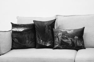 "the divine comedy illustration//dante's inferno - set of two 14"" by 20"" & one 18"" velveteen pillow case - Gustave Doré, 1892"