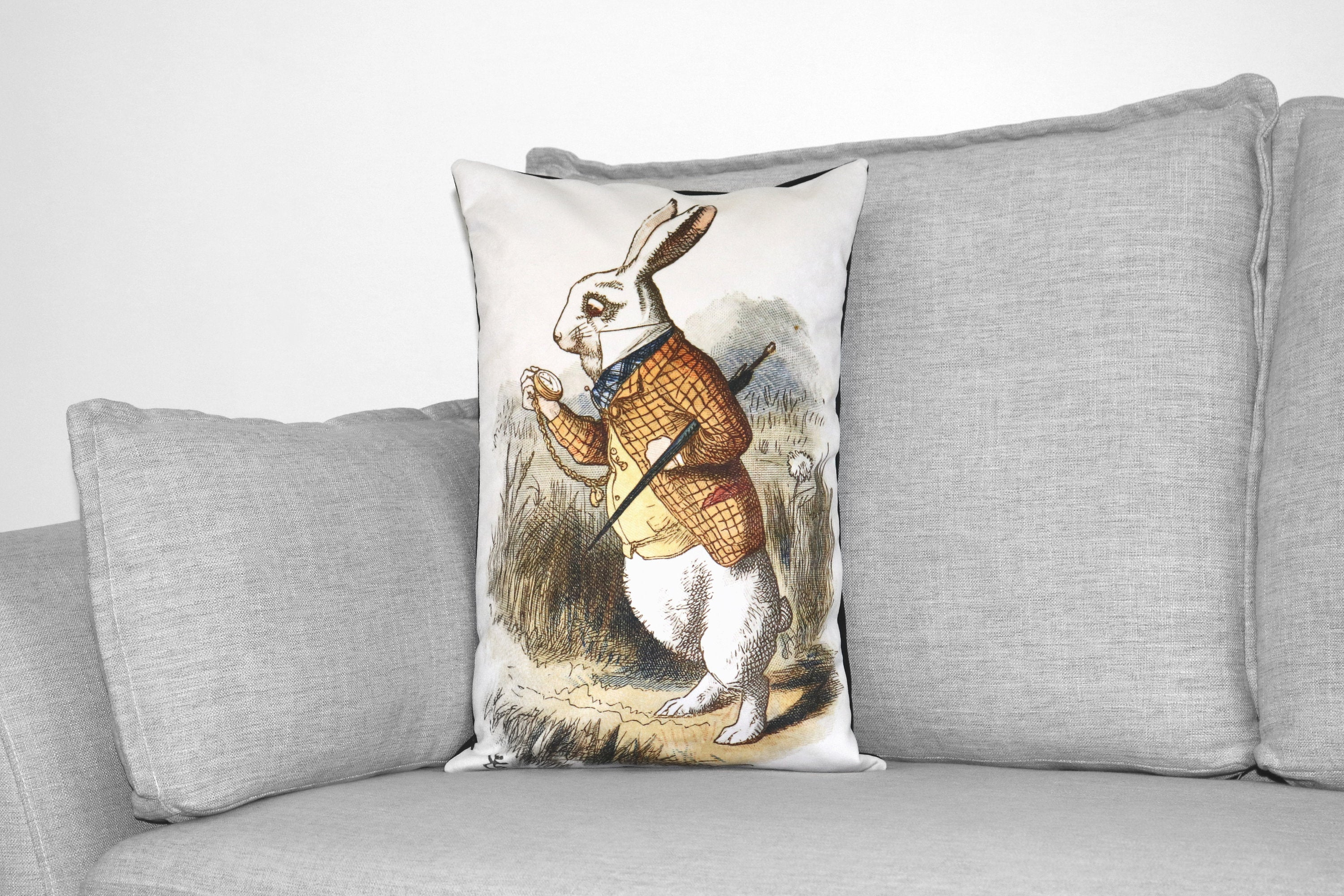 "alice in wonderland - lewis carroll - set of 3 - 14"" x 20"" velveteen pillow cases - john tenniel illustration, 1865"