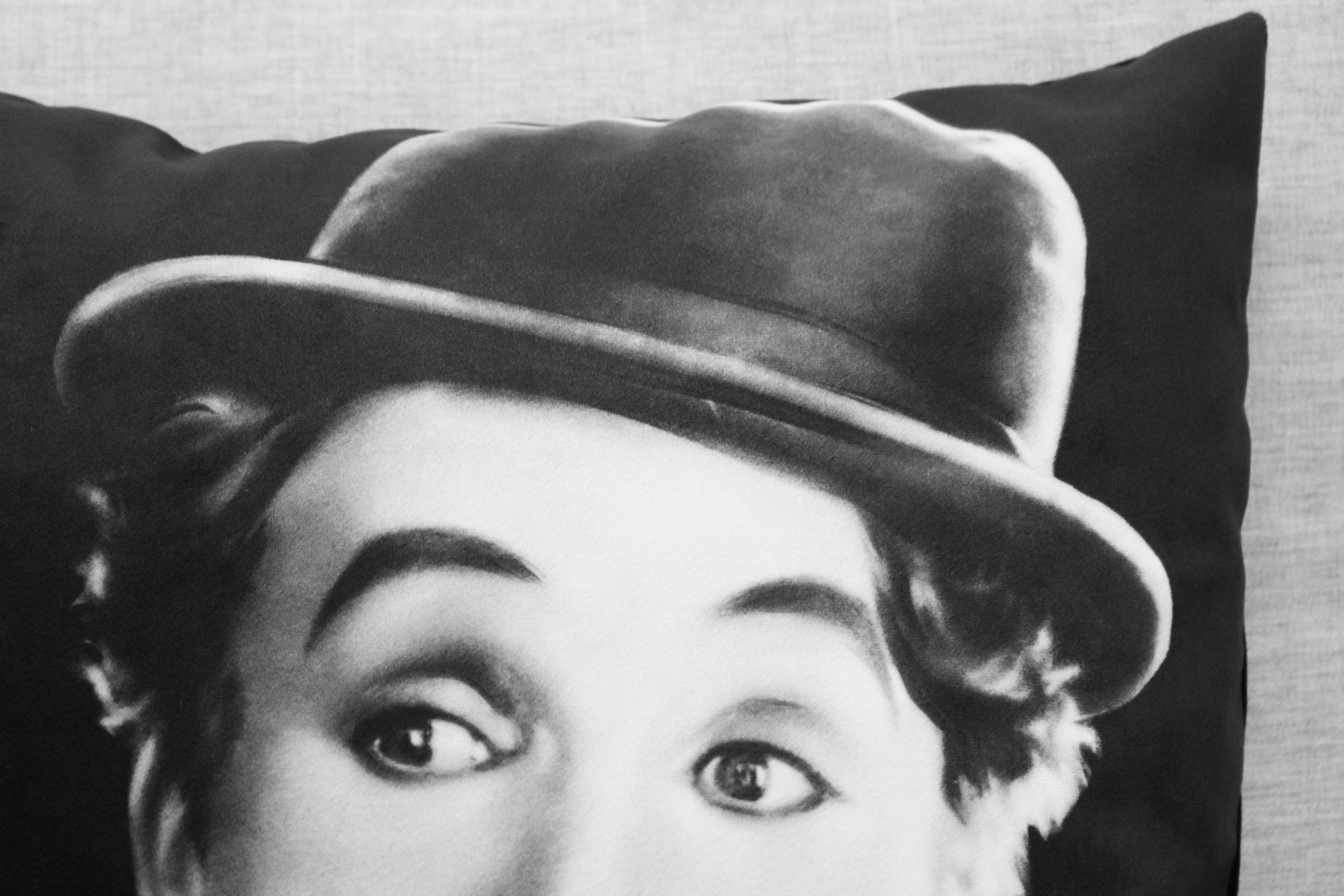 "charlie chaplin -18"" velveteen pillow case - silent film // comic actor"