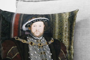 "henry VIII of england - 18"" velveteen pillow case - hans holbein the younger, 1537 - 1547"