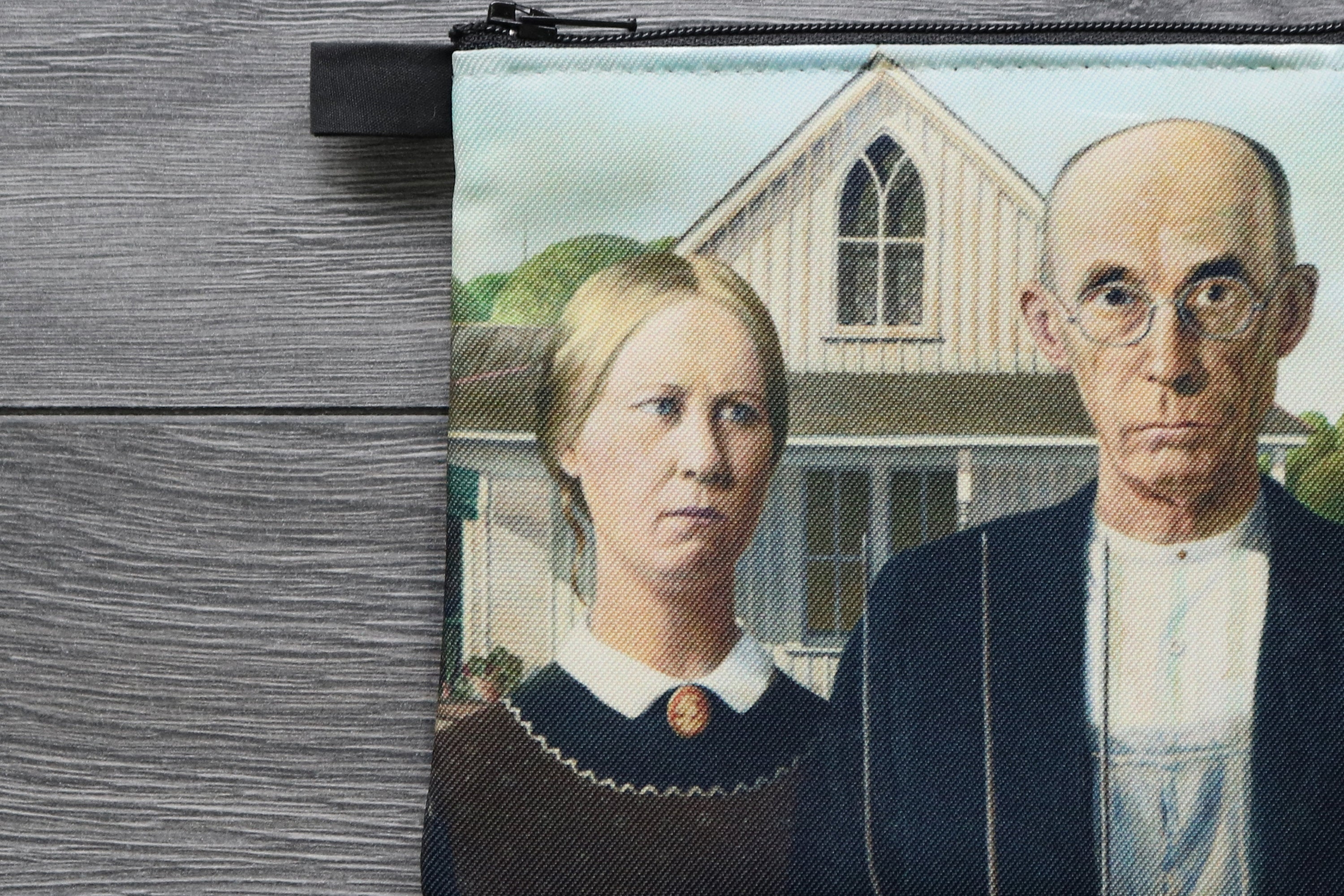 american gothic - lined twill coin purse -grant wood, 1930