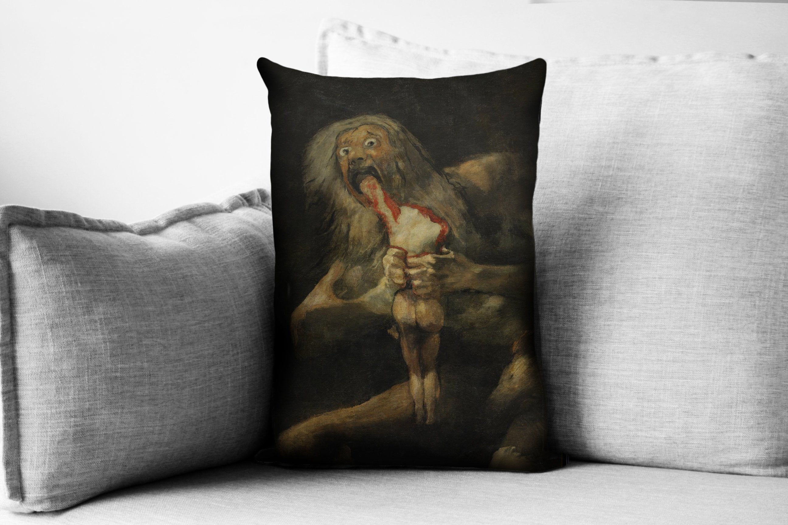 "saturn devouring one of his son - 14"" x 20"" velveteen pillow case - francisco goya, 1823"
