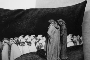 "the hypocrites address dante - the divine comedy illustration // dante's inferno - 14"" x 20"" velveteen pillow case - Gustave Doré, 1892"
