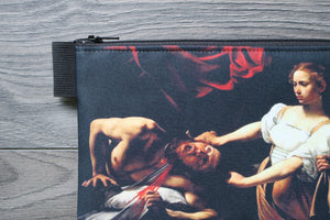 judith beheading holofernes - lined twill pencil case - double sided print - caravaggio, 1598 - 1599