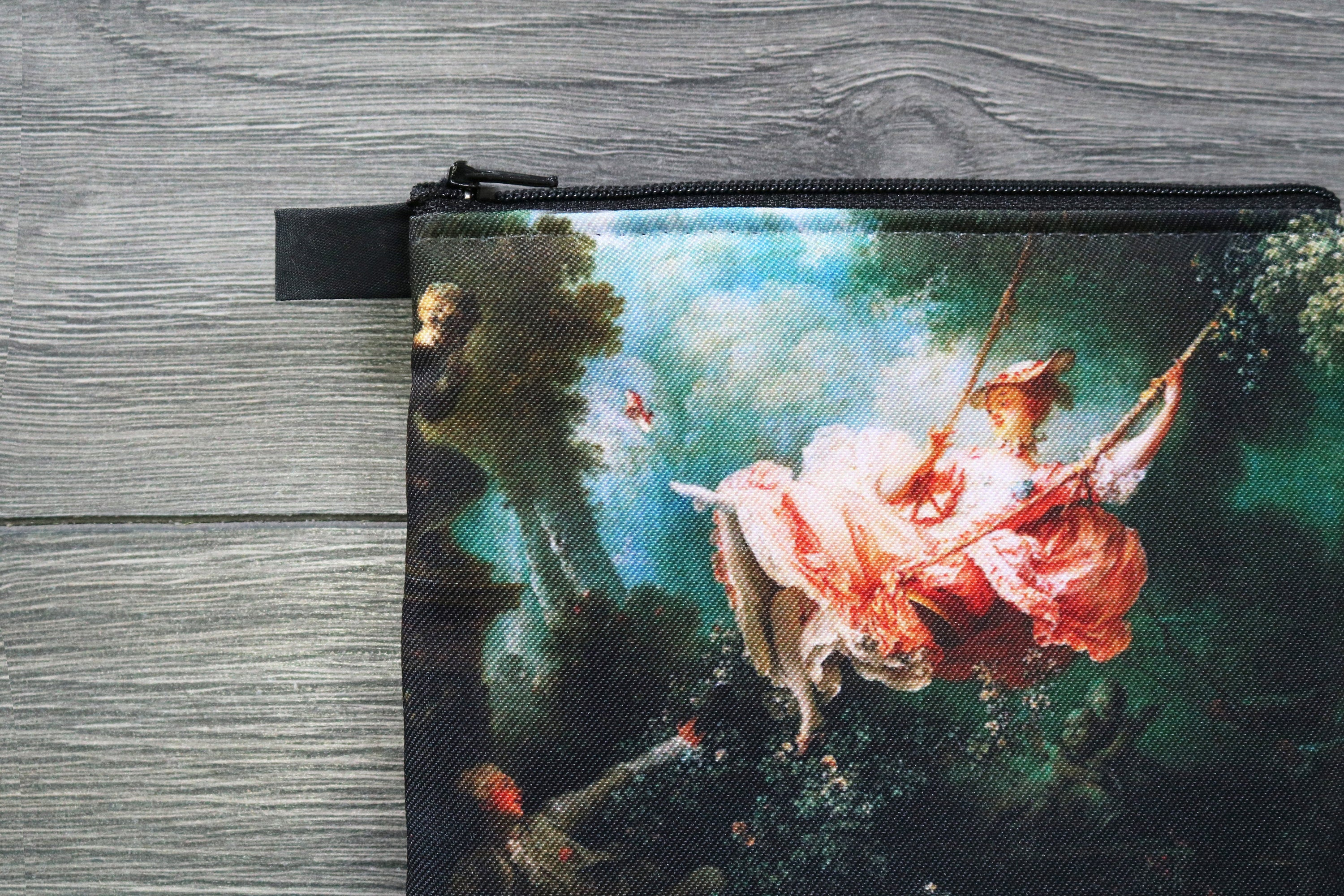 the swing, also known as the happy accidents of the swing - lined twill coin purse - double sided print - jean-honoré fragonard, 1767