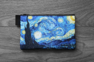 starry night - lined twill pencil case - double sided print - vincent van gogh painting