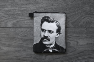 friedrich nietzsche - lined twill coin purse - double sided print - vintage photograph, 1869