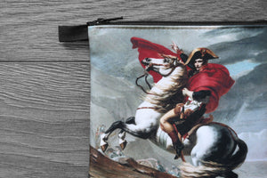 napoleon bonaparte crossing the alps - lined twill coin purse - double sided print -  jacques-louis david, 1801
