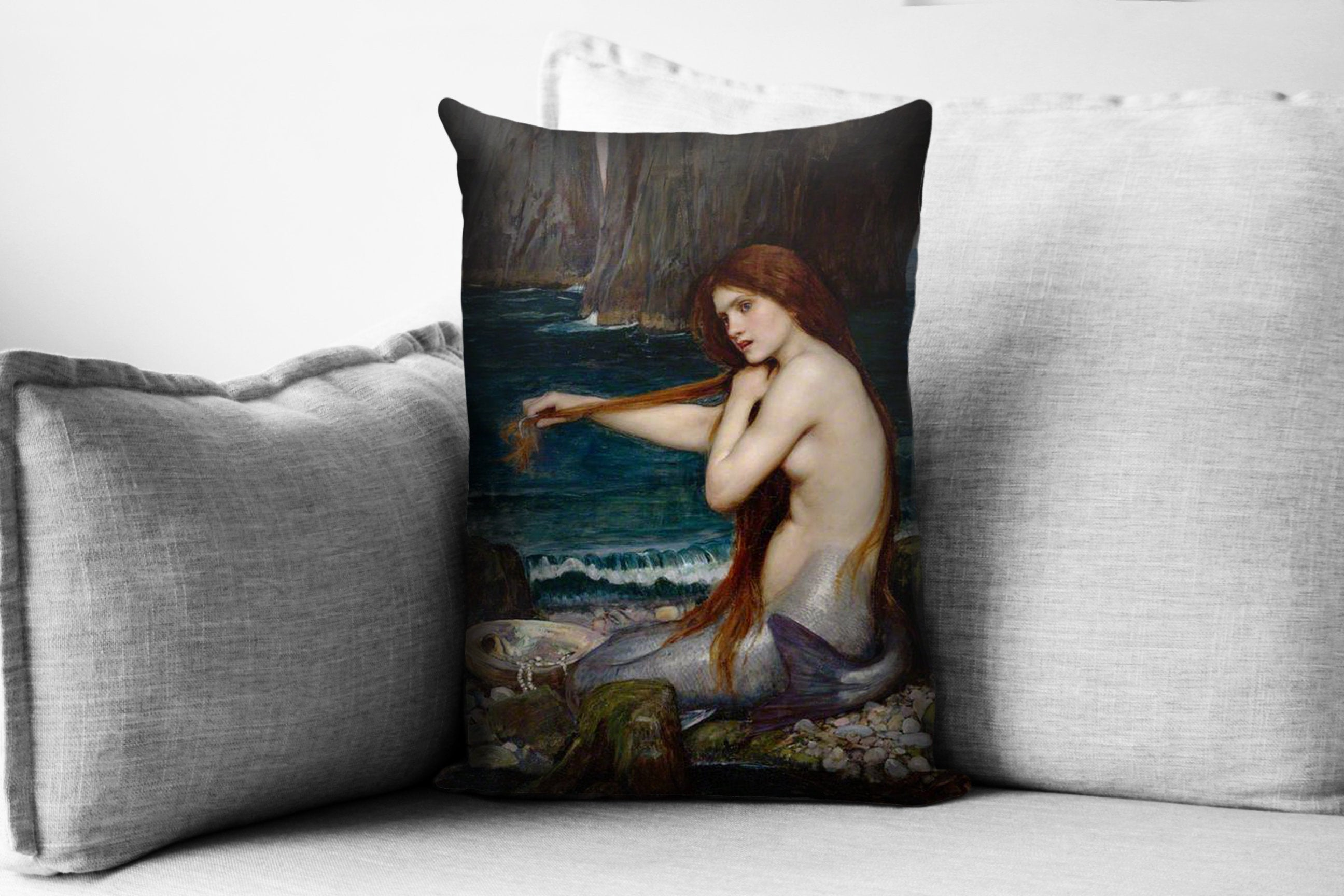 "the mermaid  - 14"" x 20"" velveteen pillow case - john william waterhouse, 1901"