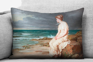 "the tempest - miranda - 14"" x 20"" velveteen pillow case - john william waterhouse, 1875"