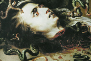 the head of medusa - canvas printed banner // wall hanging with fringe - peter paul rubens, 1617