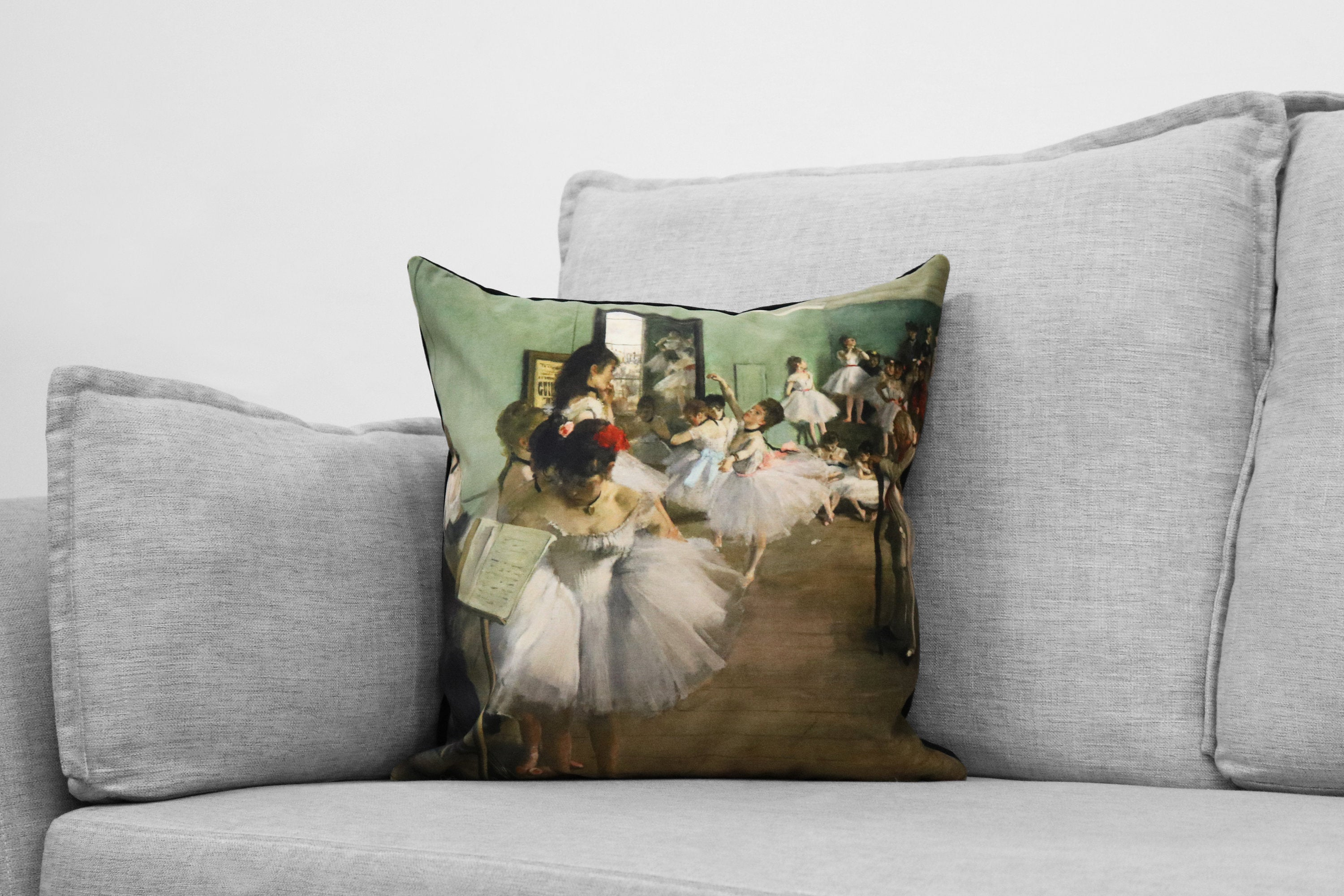 "edgar degas painting - 18"" velveteen pillow case - the dance class, 1874"